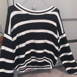 black abs white striped cropped sweater very cute